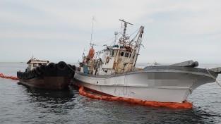 포항해경, 구룡포 좌초선 기름이적 해양오염 사전차단